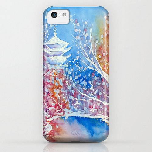 Floral Phone Case Japanese Temple - Cherry Blossoms Painting - Designer iPhone Samsung Case - Brazen Design Studio