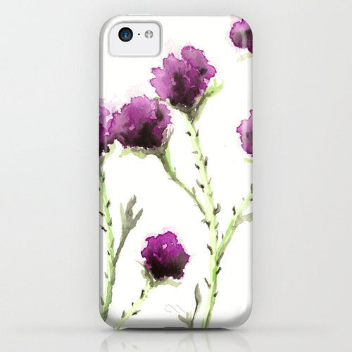 Floral iPhone 7 Case - Milk Thistle Painting - Cell Phone Cover - Designer iPhone Samsung Case - Brazen Design Studio