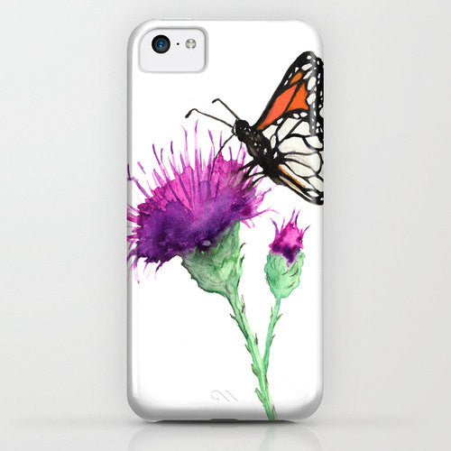 Floral Phone Case Butterfly - Milk Thistle - Cell Phone Cover - Designer iPhone Samsung Case - Brazen Design Studio