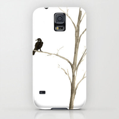 Raven iPhone 7 Case - Minimalist Bird Painting Cell Phone Cover - Designer iPhone Samsung Case - Brazen Design Studio