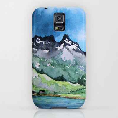 iPhone 7 Case Serenity - Mountain Landscape Painting - Designer iPhone or Samsung Case - Brazen Design Studio