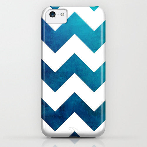 Geometric Phone Case - Tribal Teal Blue Chevron Watercolor - Designer iPhone Samsung Case - Brazen Design Studio