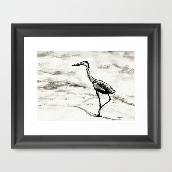 Ink Painting - Crane Wildlife Sumi-e Japanese Brush Painting - Heron Bird Art Print - Brazen Design Studio