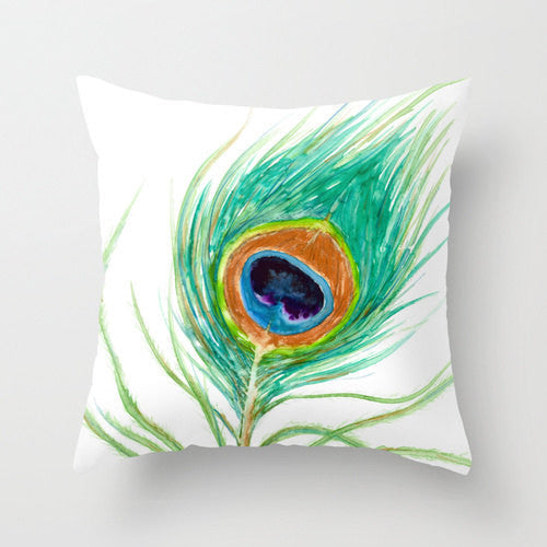 Decorative Pillow Cover - Peacock Feather - Throw Pillow Cushion - Fine Art Home Decor - Brazen Design Studio