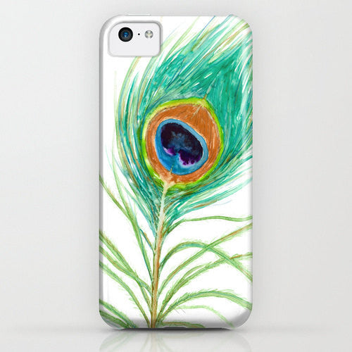 Peacock Phone Case - Peacock Feather Watercolor Painting - Designer iPhone Samsung Case - Brazen Design Studio