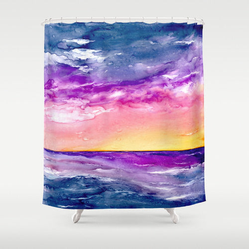 Ocean Shower Curtain Fine Art Seascape Painting - Artistic Bathroom - Modern Vibrant Bathroom Decor