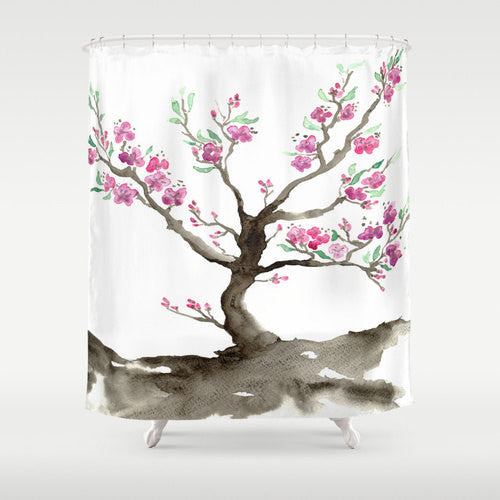 Cherry Blossom Shower Curtain Fine Art Sakura Painting - Artistic Bathroom Decor