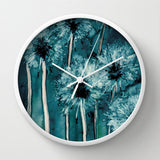 Floral Dandelion Wall Clock - Kitchen Clock Modern Decor Wall Clock - Flower Painting - Brazen Design Studio