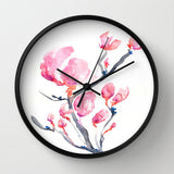 Floral Magnolia Wall Clock - Kitchen Clock Modern Decor Wall Clock - Flower Painting - Brazen Design Studio
