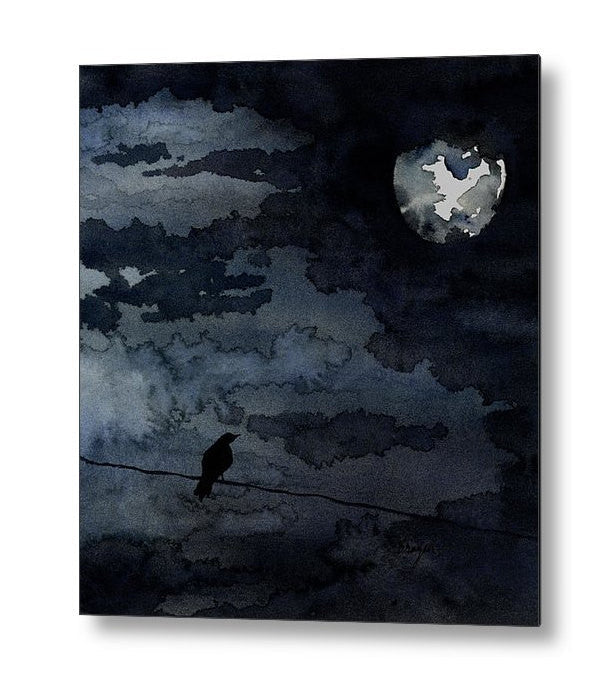 Gothic Raven - Full Moon - Birchwood or Metal Art Print - Home Decor - Ocean Wildlife Sea Creature - Brazen Design Studio
