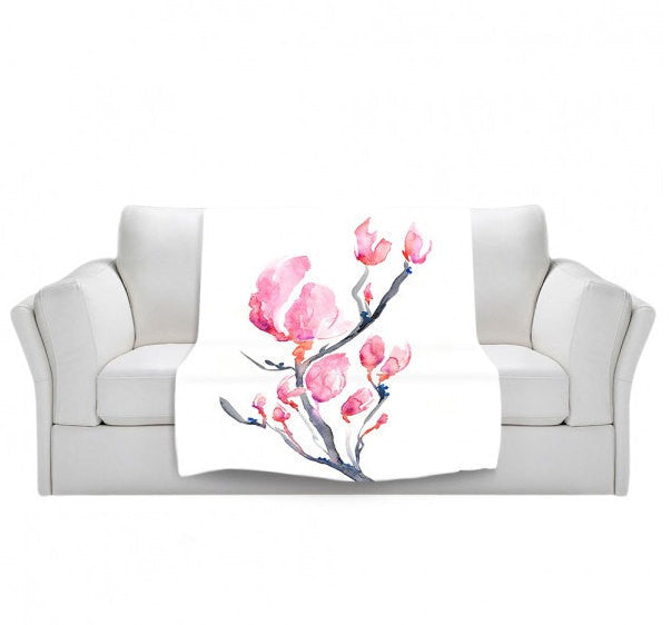 Fleece Blanket - Japanese Magnolia Watercolor Painting - Home Decor Cozy Living Room - Brazen Design Studio