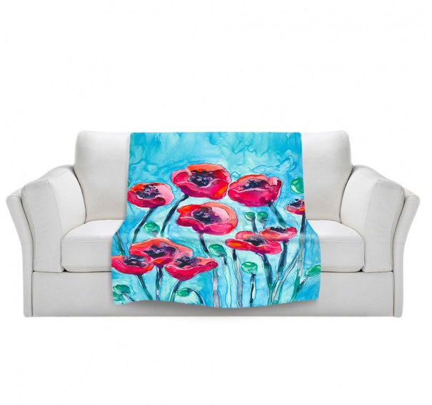 Fleece Blanket - Red Poppy Sky Watercolor Painting - Home Decor Cozy Living Room - Brazen Design Studio