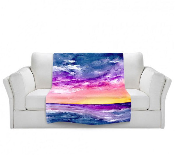Fleece Blanket - Sea Scape Ocean Watercolor Painting - Home Decor Cozy Living Room - Brazen Design Studio