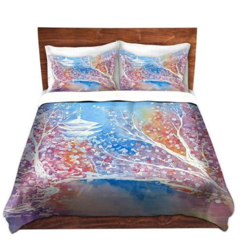 Duvet Set Cherry Blossom Painting - Nature Modern Bedding - Queen Size Duvet Cover - King Size Duvet Cover - Brazen Design Studio