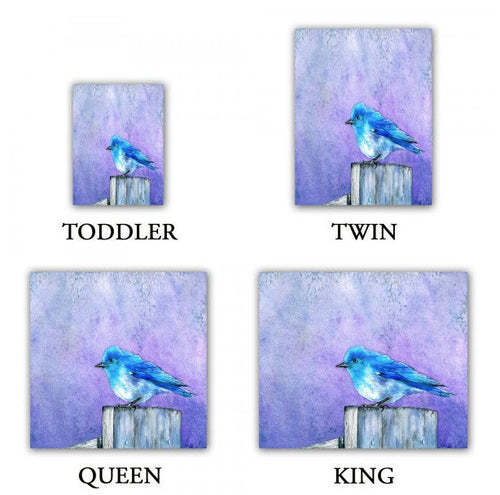 Duvet Set Bluebird Painting - Nature Modern Bedding - Queen Size Duvet Cover - King Size Duvet Cover - Brazen Design Studio