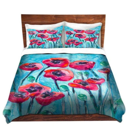 Duvet Set Floral Poppies Painting - Nature Modern Bedding - Queen Size Duvet Cover - King Size Duvet Cover - Brazen Design Studio