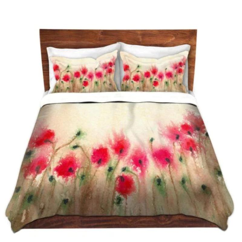 Duvet Set Poppies Painting   Nature Modern...