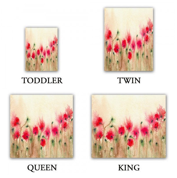 Duvet Set Poppies Painting - Nature Modern Bedding - Queen Size Duvet Cover - King Size Duvet Cover - Brazen Design Studio