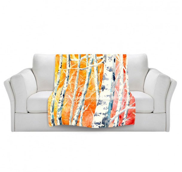 Fleece Blanket - Falling for Color Watercolor Painting - Home Decor Cozy Living Room - Brazen Design Studio