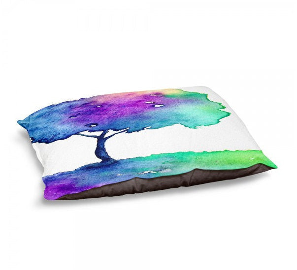 Designer Dog Bed  - Hue Tree Watercolor Painting - Fleece Cotton Cover - Brazen Design Studio