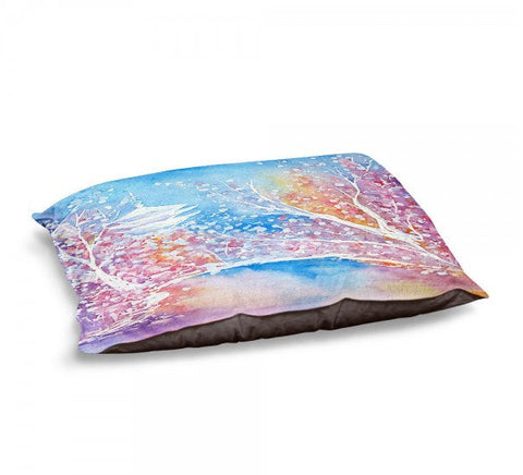 Designer Dog Bed  - Cherry Blossom Watercolor Painting - Fleece Cotton Cover - Brazen Design Studio