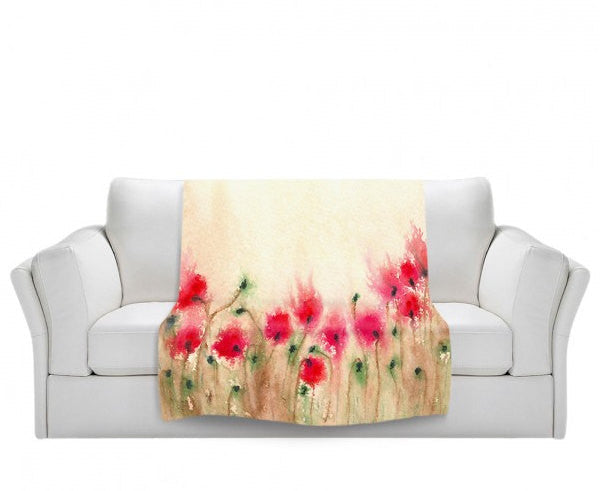 Fleece Blanket - Poppies Watercolor Painting - Home Decor Cozy Living Room - Brazen Design Studio