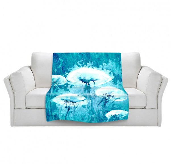 Fleece Blanket - Jellyfish Sea Creature Watercolor Painting - Home Decor Cozy Living Room