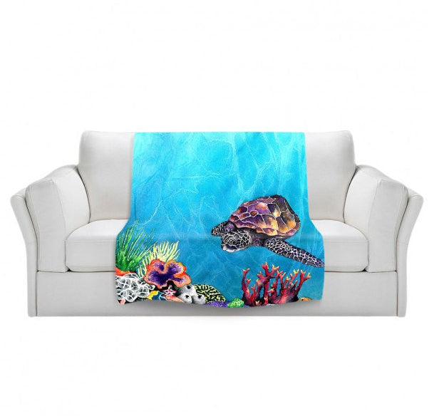Fleece Blanket - Sea Turtle Watercolor Painting - Home Decor Cozy Living Room - Brazen Design Studio