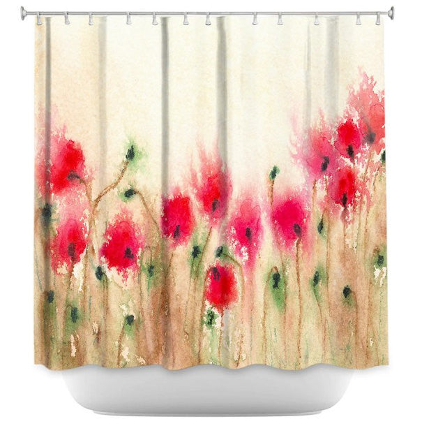Floral Shower Curtain Fine Art Red Poppies Painting - Artistic Bathroom - Colorful Modern Vibrant Bathroom Decor - Brazen Design Studio