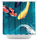 Shower Curtain Fine Art Koi Painting - Artistic Bathroom - Colorful Modern Asian Zen Peaceful Bathroom Decor - Brazen Design Studio