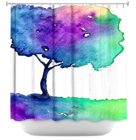 Shower Curtain Birch Tree Painting - Artistic Bathroom - Colorful Modern Vibrant Bathroom Decor