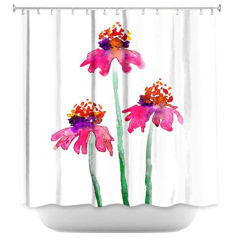 Floral Shower Curtain Fine Art Pink Echinacea Painting - Artistic Bathroom - Colorful Modern Vibrant Bathroom Decor - Brazen Design Studio