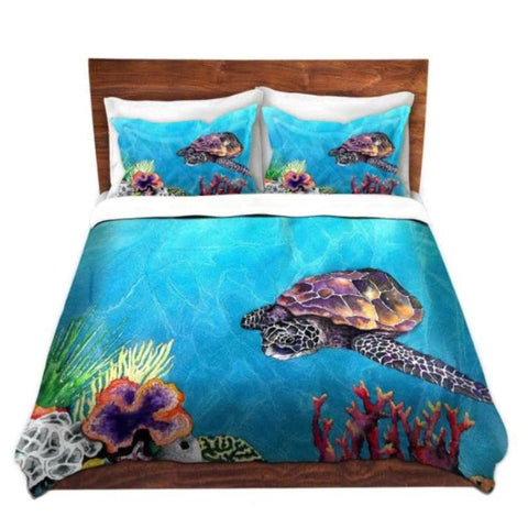 Duvet Set Sea Turtle Painting - Nature Modern Bedding - Queen Size Duvet Cover - King Size Duvet Cover - Brazen Design Studio