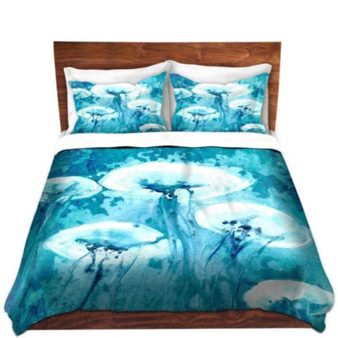 Blue Jean Frog Watercolor Painting Duvet Set