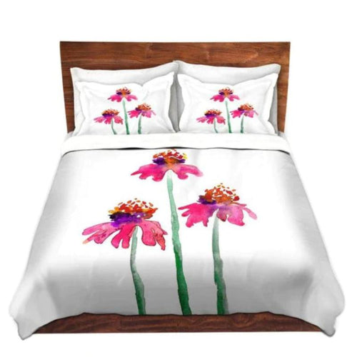 Duvet Set Floral Coneflower Echinacea Painting - Nature Modern Bedding - Queen Size Duvet Cover - King Size Duvet Cover - Brazen Design Studio