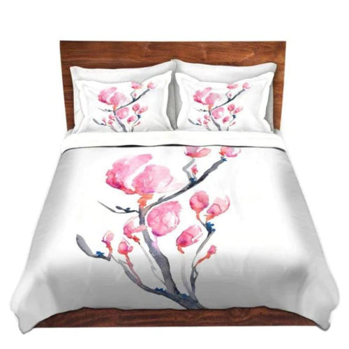 Duvet Set Floral Magnolia Painting - Nature Modern Bedding - Queen Size Duvet Cover - King Size Duvet Cover - Brazen Design Studio