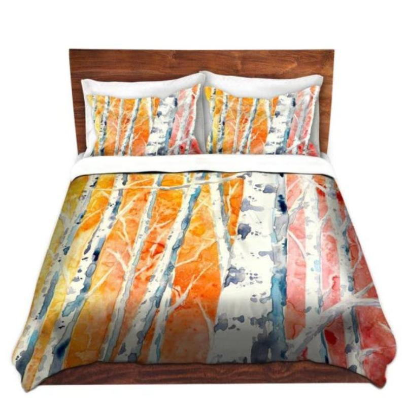 Artistic Duvet Set Falling for Color Painting - Nature Modern Bedding - Queen Size Duvet Cover - King Size Duvet Cover - Brazen Design Studio