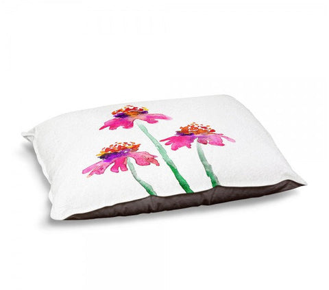 Designer Dog Bed  - Coneflower Floral Watercolor Painting - Fleece Cotton Cover - Brazen Design Studio