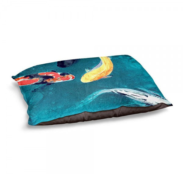 Designer Dog Bed  - Koi Fish Watercolor Painting - Fleece Cotton Cover - Brazen Design Studio