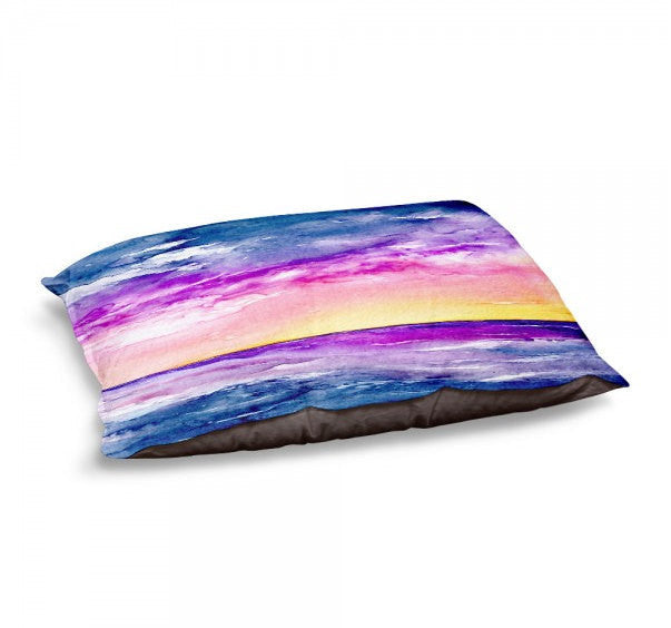 Designer Dog Bed  - Ocean Seascape Watercolor Painting - Fleece Cotton Cover - Brazen Design Studio
