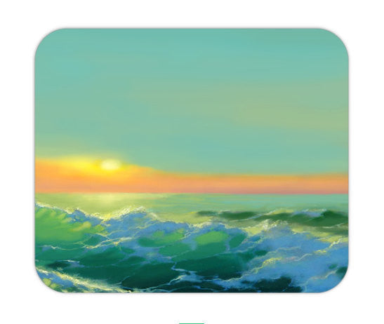 Mousepad - Sunrise Seascape Painting - Art for Home or Office - Brazen Design Studio