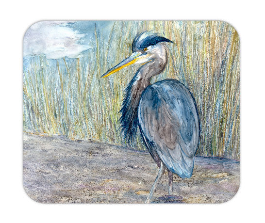 Mousepad - Great Blue Heron Wildlife Painting - Art for Home or Office - Brazen Design Studio