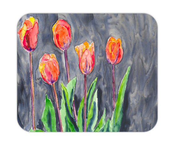 Mousepad - Orange Tulips Painting - Art for Home or Office - Brazen Design Studio