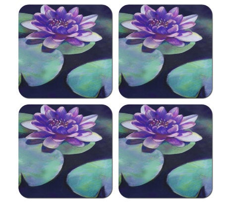Art Coasters - Home Decor - Waterlily Pastel Painting - Coffee Table Ceramic Tile Coasters
