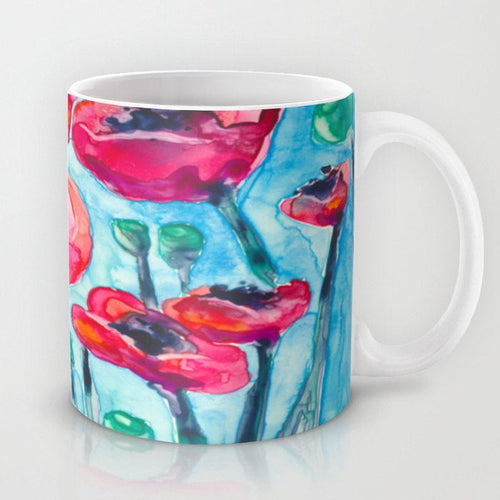 Artistic Floral Coffee Mug - Red Poppies - Kitchen Decor  Mug Drinkware