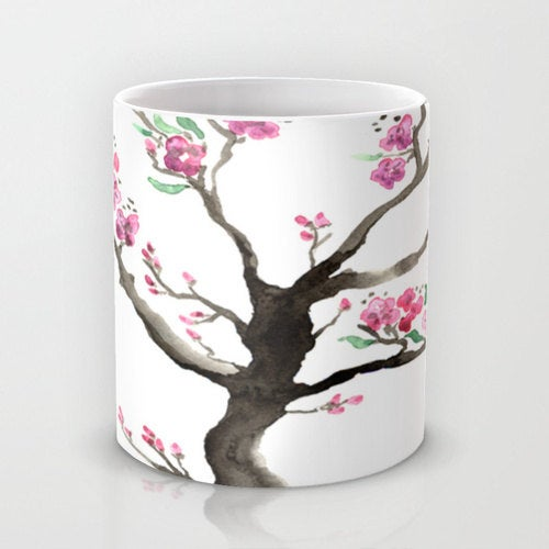 Artistic Floral Coffee Mug - Sakura Tree Cherry Blossoms - Kitchen Decor  Mug Drinkware