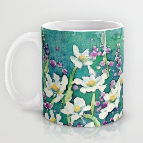 Artistic Floral Coffee Mug - Daisy Wildflowers - Kitchen Decor  Mug Drinkware
