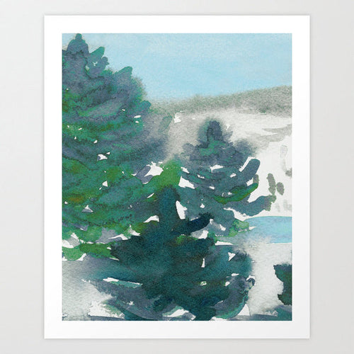 Watercolor Tree Art Painting - Winter's Tale Mountain Landscape Scenic Art Print - Brazen Design Studio