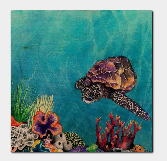 Sea Turtle Ocean Wildlife Birchwood or Metal Art Print - Home Decor - Brazen Design Studio