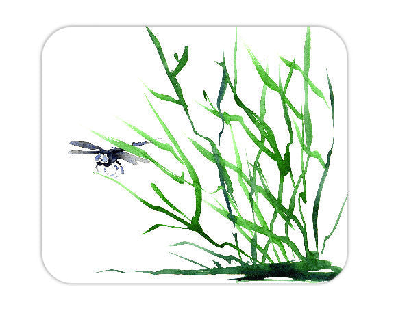 Mousepad - Dragonfly Sumi-e Watercolor Painting - Art for Home or Office - Brazen Design Studio